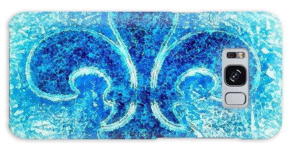 Turquoise Bleu Fleur De Lys Galaxy Case