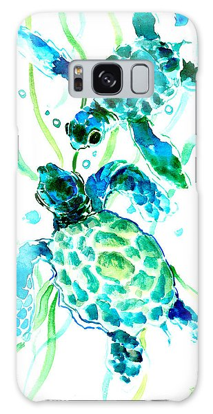 Turquoise Indigo Sea Turtles Galaxy Case