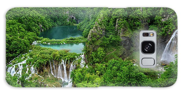 Turquoise Lakes And Waterfalls - A Dramatic View, Plitivice Lakes National Park Croatia Galaxy Case