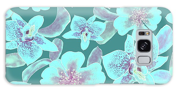 Turquoise Spotted Orchids On Teal Galaxy Case