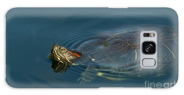 Turtle Floating In Calm Waters Galaxy Case