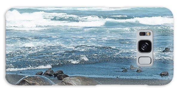 Turtles On Black Sand Beach Galaxy Case