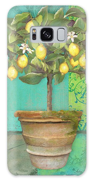 Tuscan Lemon Topiary - Damask Pattern 1 Galaxy Case by Audrey Jeanne Roberts
