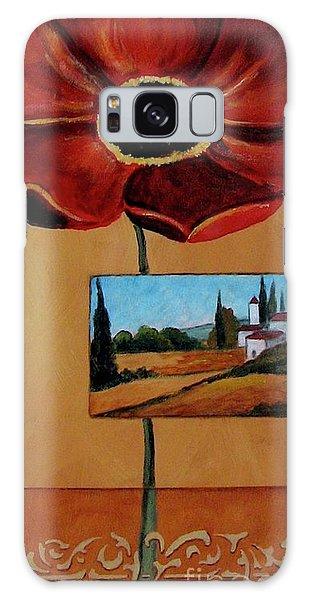Tuscan Poppy Postcard Galaxy Case