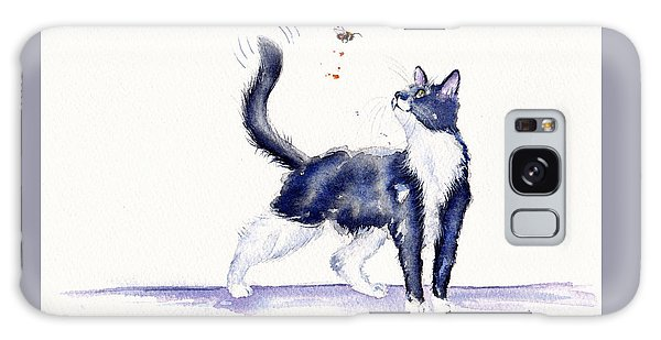 Cat Galaxy Case - Tuxedo Cat And Bumble Bee by Debra Hall