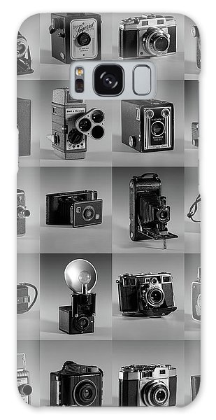 Twenty Old Cameras - Black And White Galaxy Case