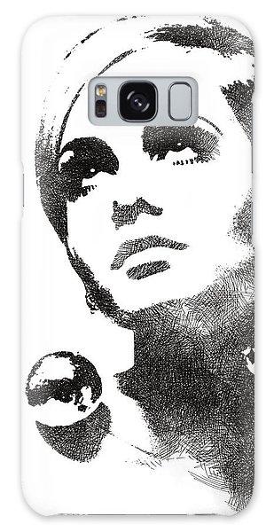 Twiggy Bw Portrait Galaxy Case by Mihaela Pater