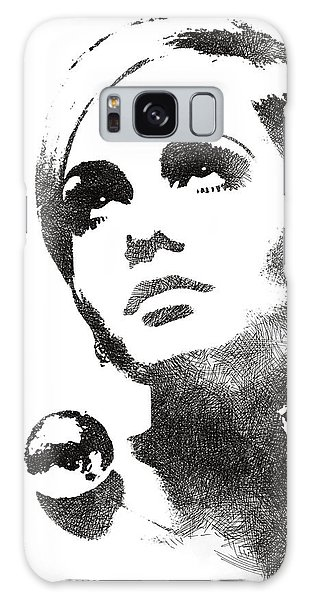 Twiggy Bw Portrait Galaxy Case by Mihaela Pater