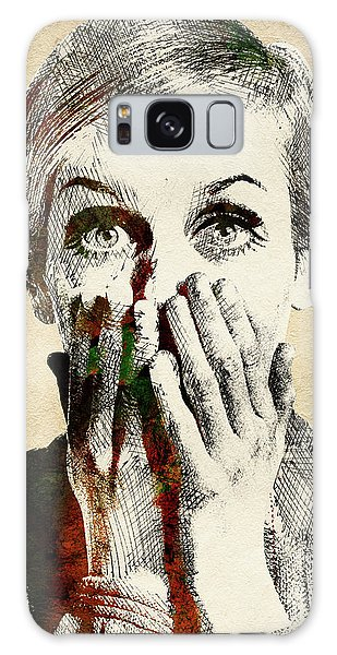 Twiggy Surprised Galaxy Case by Mihaela Pater
