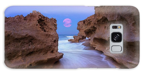Twilight Moon Rising Over Hutchinson Island Beach Rocks Galaxy Case by Justin Kelefas