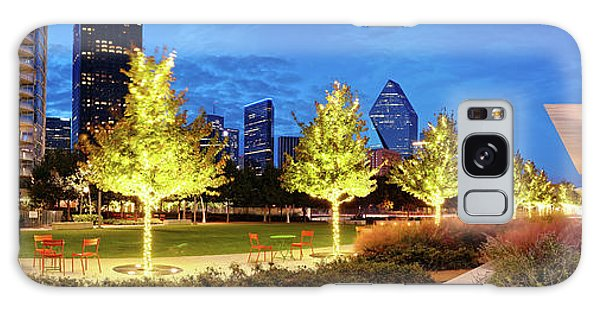 Twilight Panorama Of Klyde Warren Park And Downtown Dallas Skyline - North Texas Galaxy Case