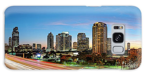 Twilight Panorama Of Uptown Houston Business District And Galleria Area Skyline Harris County Texas Galaxy Case