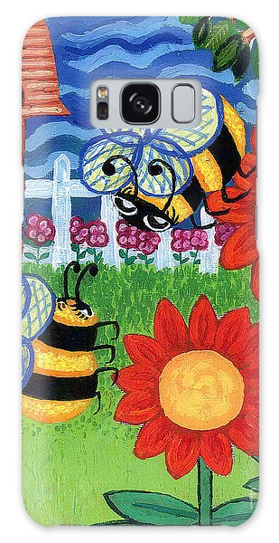 Two Bees With Red Flowers Galaxy Case by Genevieve Esson