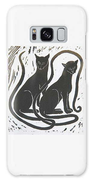 Two Black Felines Galaxy Case