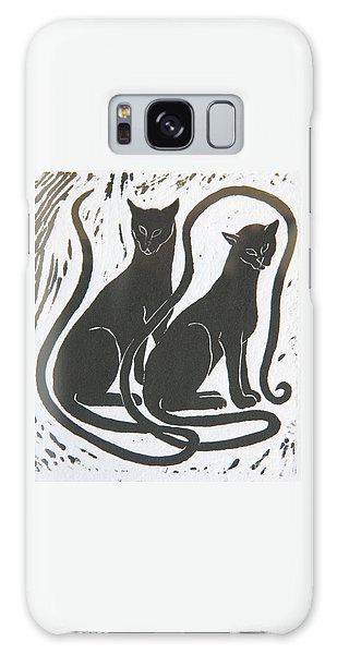 Two Black Felines Galaxy Case by Nareeta Martin