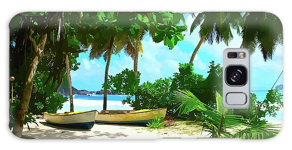 Two Boats On Tropical Beach Galaxy Case
