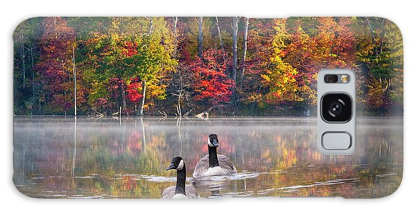 Two Canadian Geese Swimming In Autumn Galaxy Case