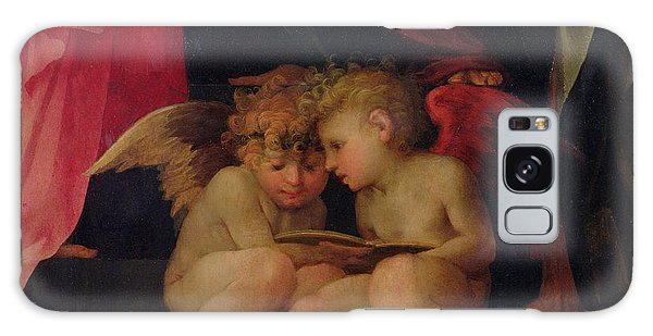 Angel Galaxy Case - Two Cherubs Reading Detail From Madonna And Child With Saints by Giovanni Battist Rosso Fiorentino