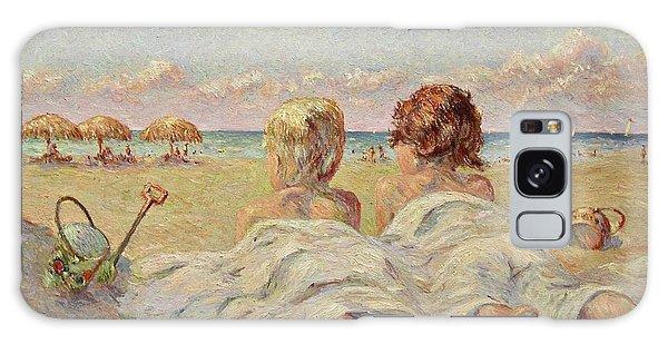 Two Children On The Beach Galaxy Case