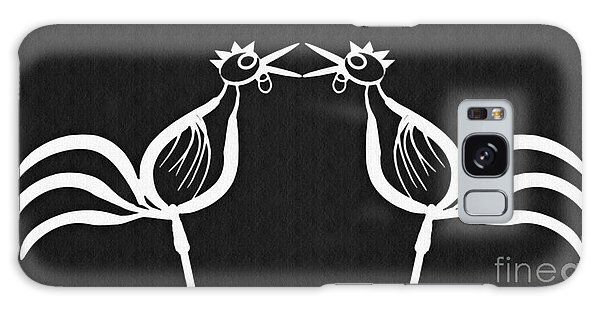 Two Crowing Roosters 2 Galaxy Case by Sarah Loft