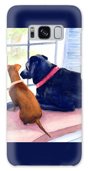 Watercolor Pet Portraits Galaxy Case - Two Dogs Looking Out A Window by Carlin Blahnik CarlinArtWatercolor