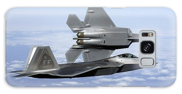 Galaxy Case featuring the photograph Two F-22a Raptors In Flight by Stocktrek Images