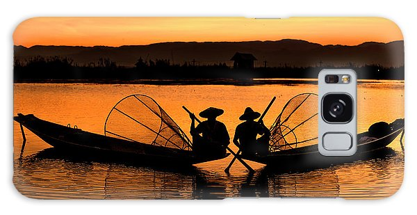 Two Fisherman At Sunset Galaxy Case