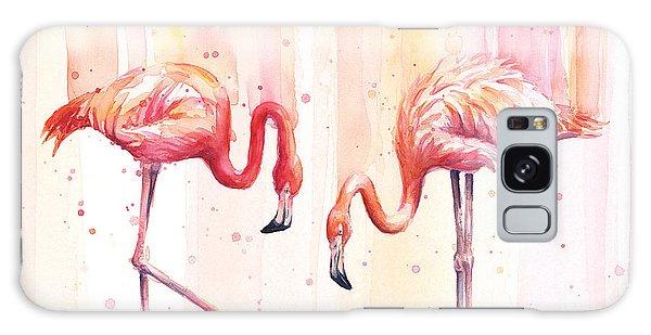 Two Flamingos Watercolor Galaxy Case