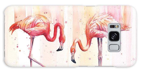 Summer Galaxy Case - Two Flamingos Watercolor by Olga Shvartsur