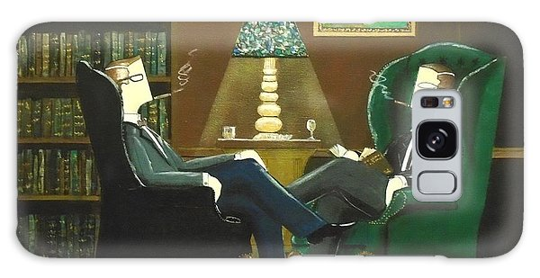 Two Gentlemen Sitting In Wingback Chairs At Private Club Galaxy Case