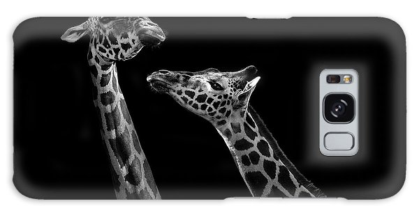 Giraffe Galaxy Case - Two Giraffes In Black And White by Lukas Holas