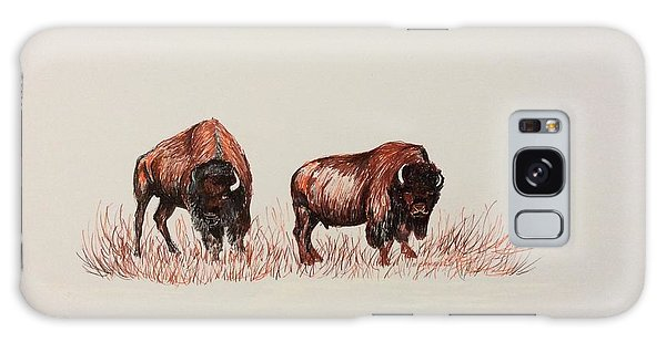 Two Grumpy Bisons  Galaxy Case by Ellen Canfield