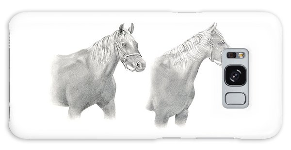 Galaxy Case featuring the drawing Two Horse Study by Elizabeth Lock