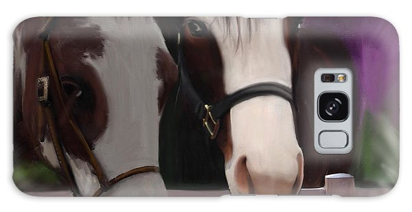 Two Horses And Purple Flowers Galaxy Case