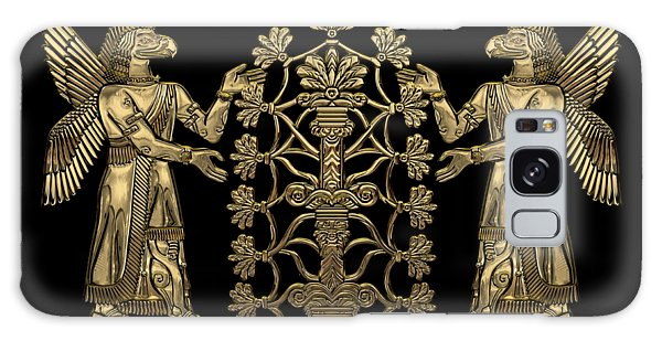Two Instances Of Gold God Ninurta With Tree Of Life Over Black Canvas Galaxy Case