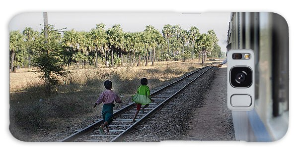 Two Kids Run Along And Follow Train In Burma Galaxy Case