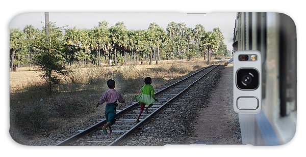 Two Kids Run Along And Follow Train In Burma Galaxy Case by Jason Rosette