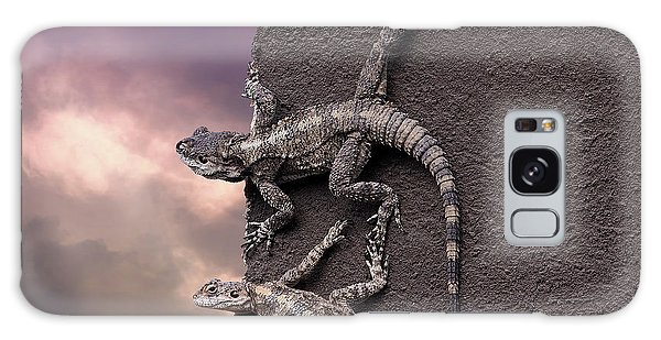 Two Lizards On The Edge Of The Roof Galaxy Case