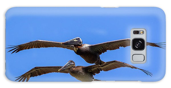 Two Pelicans Over The Beach Galaxy Case