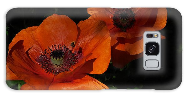 Two Poppies  And A Bee Galaxy Case