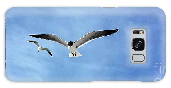 Two Seagulls Against A Blue Sky Galaxy Case