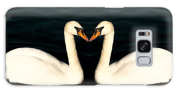 Two Symmetrical White Love Swans Galaxy Case