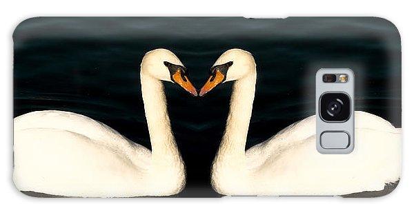 Two Symmetrical White Love Swans Galaxy Case