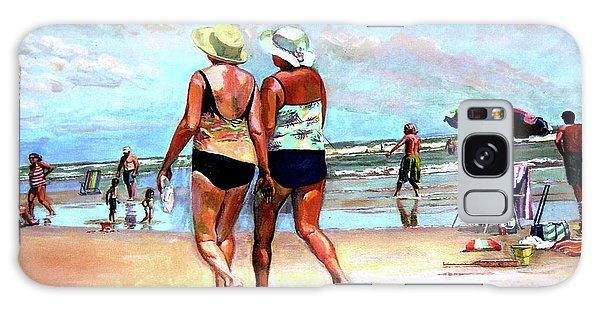 Two Women Walking On The Beach Galaxy Case by Stan Esson