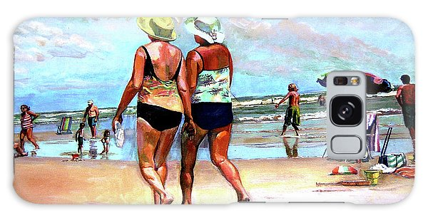 Two Women Walking On The Beach Galaxy Case by Stan Esson