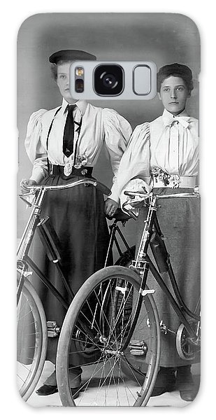 Two Young Ladies With Their Bicycles Circa 1895 Galaxy Case