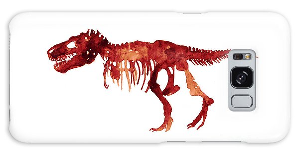 Tyrannosaurus Rex Skeleton Poster, T Rex Watercolor Painting, Red Orange Animal World Art Print Galaxy Case by Joanna Szmerdt