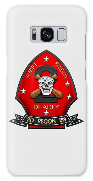 U S M C  2nd Reconnaissance Battalion -  2nd Recon Bn Insignia Over White Leather Galaxy Case