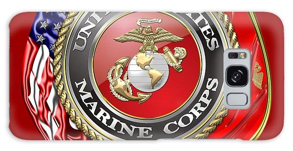 U. S. Marine Corps U S M C Emblem On Red Galaxy Case