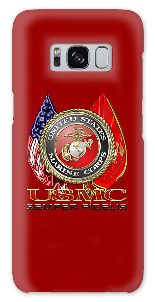 U. S. Marine Corps U S M C Emblem On Red Galaxy Case